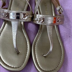 Coach sandals size 6.5 gold in excellent conditio